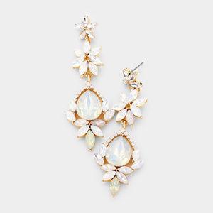 Stone Detail Teardrop Dangle Evening Earrings